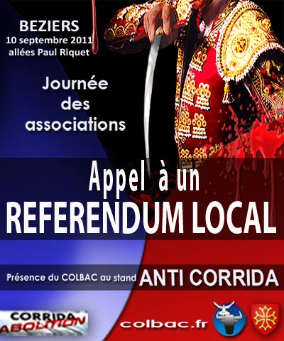 béziers 2011, journée des associations, appel à un referendum local anti corrida